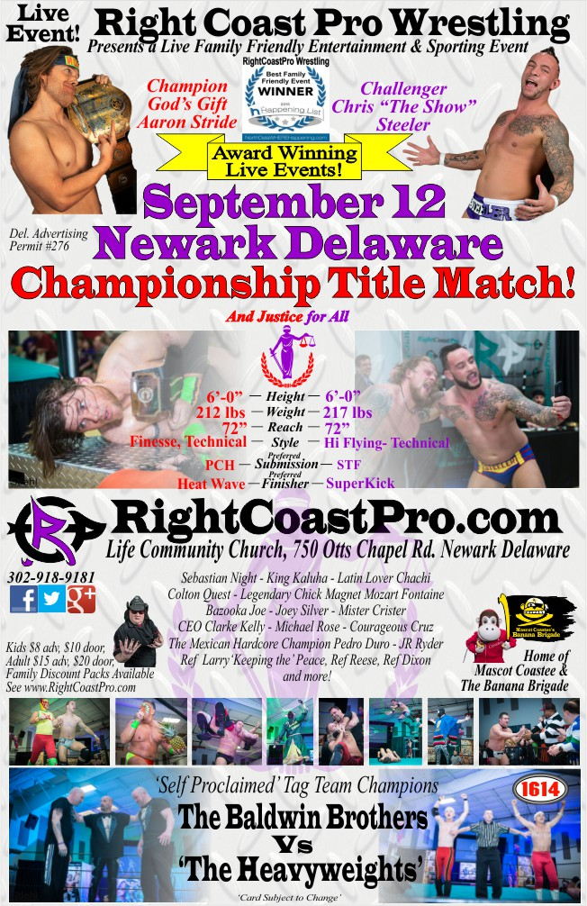 EventPoster 650 RCP23 RightCoastPro Wrestling Delaware Sports Entertainment