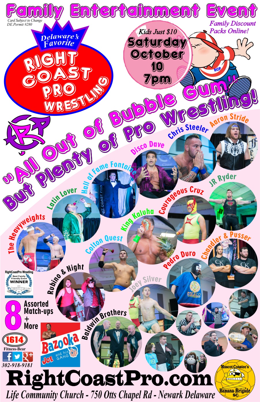 All Out Bubblegum Web Poster RCP24 RightCoastPro Wrestling Delaware