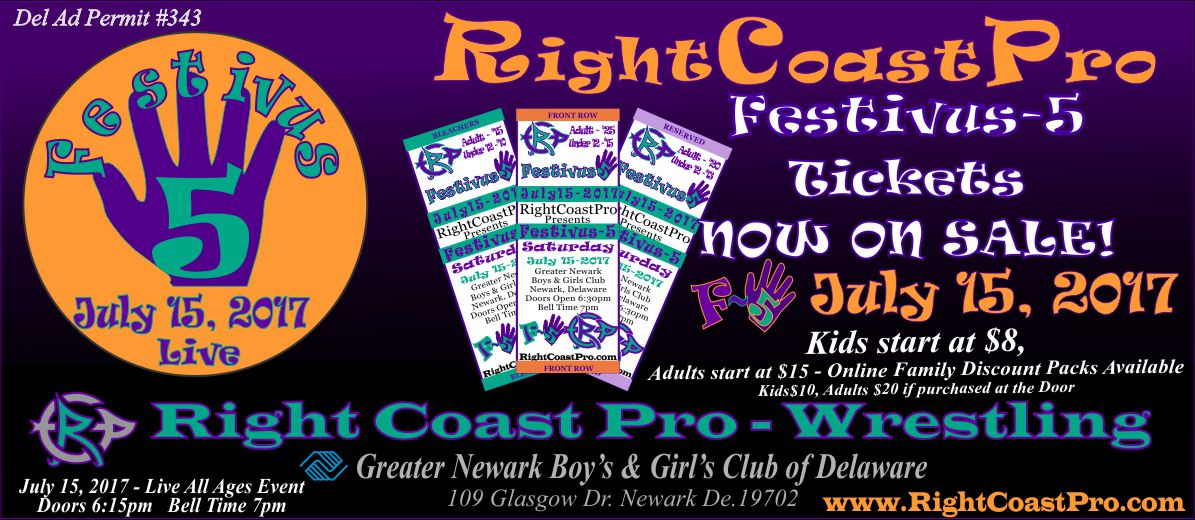 tickets Web1200 banner Festivus Five RightCoast ProWrestling Delaware Event