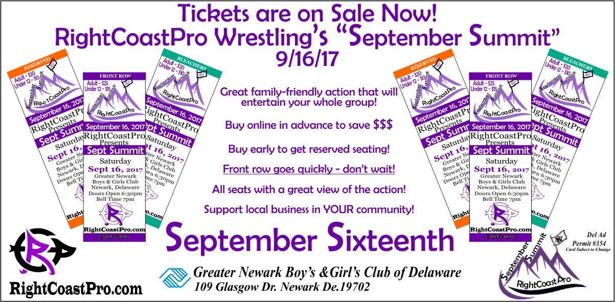 RightCoastProWrestling Web tickets Sept16 2017 Tickets Individuals