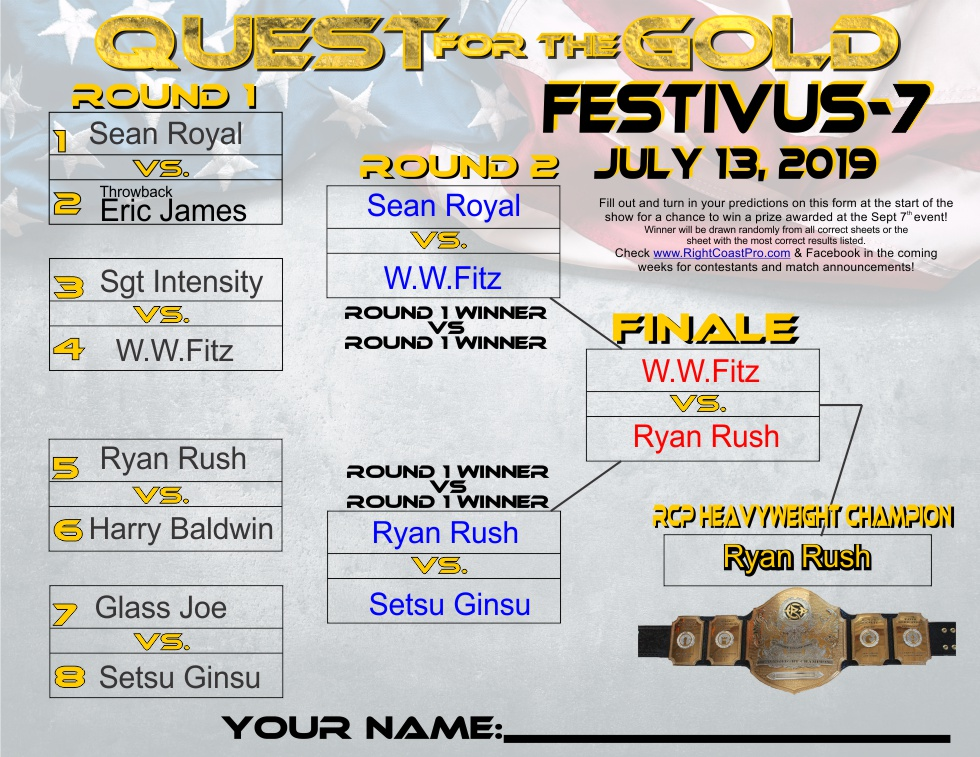 "Ryan ""The Adrenaline"" Rush Defeats WWF to win RCP's Quest for the Gold Heavyweight Championship Tournament at Festivus 7"