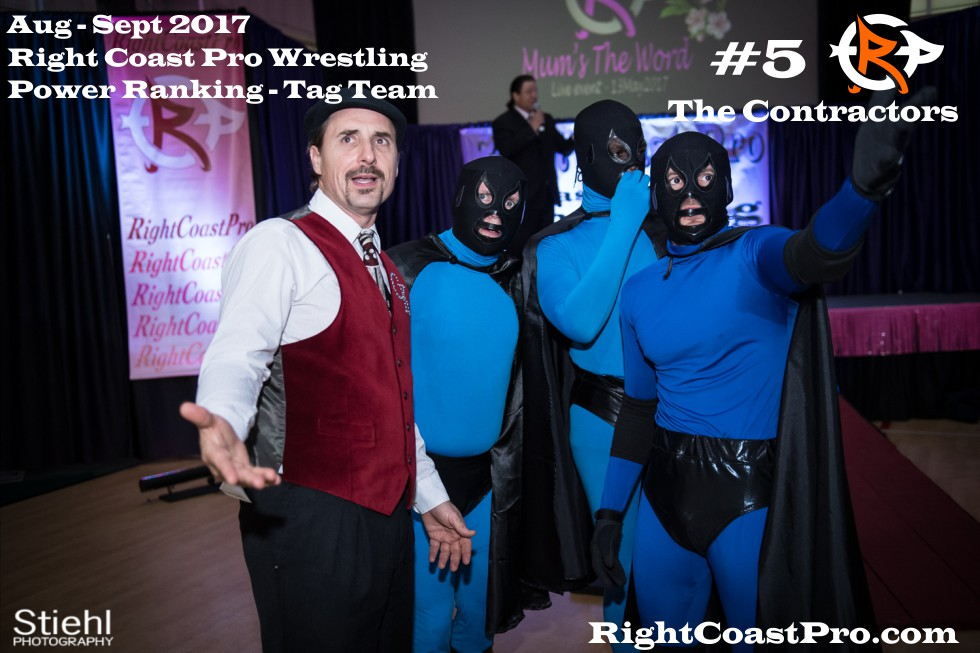 5 Contractors September Delaware Professional Wrestling TagTeam Rankings