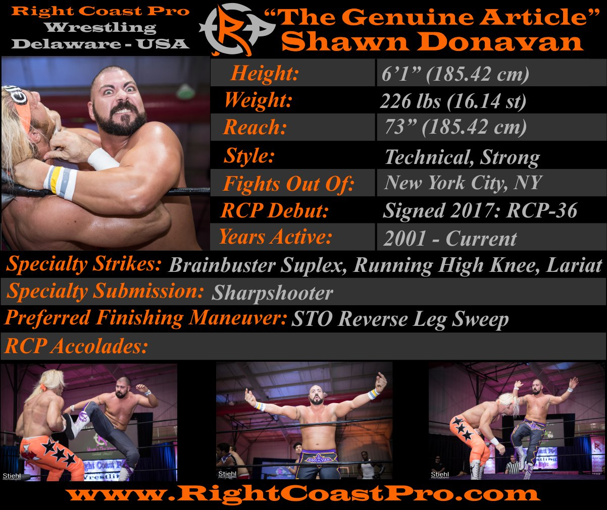 Shawn Donavan Profile RightCoastPro Wrestling Delaware